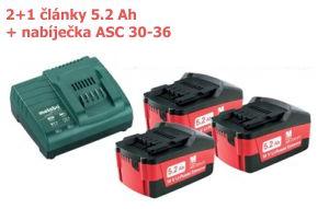 Základní set 2+1 články 5,2 Ah + nabíječka ASC 30-36